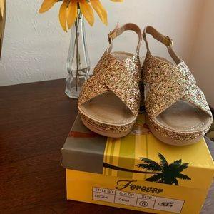 NIB Gold Glitter Sandals